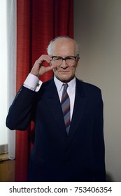BERLIN, GERMANY - OCT 1, 2017: Erich Honecker, a German politician, Madame Tussauds  Berlin wax museum.