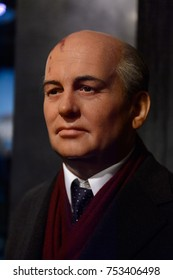 BERLIN, GERMANY - OCT 1, 2017: Mikhail Sergeyevich Gorbachev, the eighth and last leader of the Soviet Union, Madame Tussauds  Berlin wax museum.