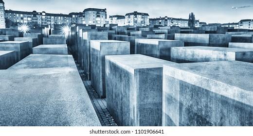 BERLIN, GERMANY - OCT 17, 2013: View of Jewish Holocaust Memorial at night, Berlin, Germany.