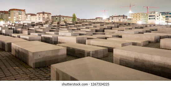 BERLIN, GERMANY - OCT 17, 2013: View of Jewish Holocaust Memorial at night, Berlin, Germany.