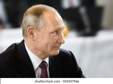 BERLIN, GERMANY - Oct 19, 2016: Russian President Vladimir Putin before the negotiations of leaders of states in Normandy format in Berlin