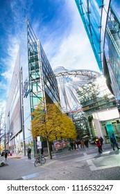 BERLIN, GERMANY -OCT 26, 2016: Potsdamer platz Sony Center with the futuristic roof top that change colors on Oct 26, 2106, Berlin , Germany.
