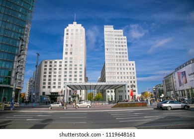 BERLIN, GERMANY - OCT 26,  2016:Postdamer Platz, an important square in the center of the city, with many new buildings, built in the last years, after the fall of the Berlin Wall  on Oct 26, 2016. in