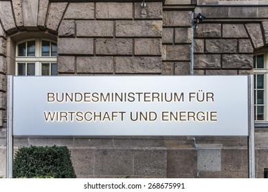 BERLIN, GERMANY - OCT 29, 2014: entrance sign of the federal ministry of econimics and energy in Berlin, Germany. The responsible Minister is since 2014 Sigmar Gabriel.