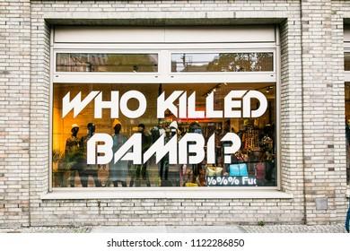"BERLIN GERMANY - OCT 29, 2016:: Shop window of ""Who killed bambi"" store in Berlin on Oct 29, 2016. Germany."