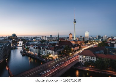 Berlin, Germany - Oct 4,2019: Landscape of Berlin city skyline, aerial view of the Berlin television tower at night