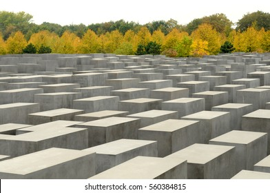 BERLIN, GERMANY - OCT 6, 2009: View of Jewish Holocaust Memorial, Berlin, Germany