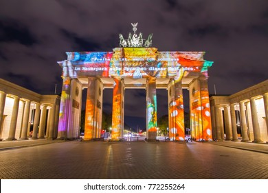 BERLIN, GERMANY - OCTOBER 06, 2017: Brandenburg Gate illuminated by colorful 3D mapping during the Festival of Lights 2017