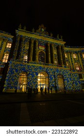 BERLIN, GERMANY - OCTOBER 10, 2014: The building of the Faculty of Law of the University of Humboldt in night illumination. The annual Festival of Lights 2014