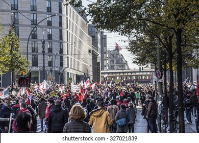 BERLIN, GERMANY - OCTOBER 10, 2015: The big demonstration against TTIP and CETA in Berlin is going along the Friedrichstrasse, one of the big shopping streets. 250000 people participated.