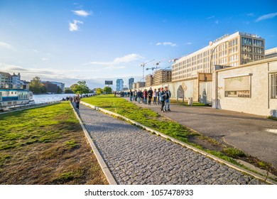 Berlin, Germany: October 10, 2017: Street behind of East Side Gallery, international memorial for freedom.