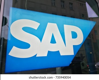 Berlin, Germany - October 11, 2017: SAP logo. SAP SE is a German multinational software corporation that makes enterprise software to manage business operations and customer relations