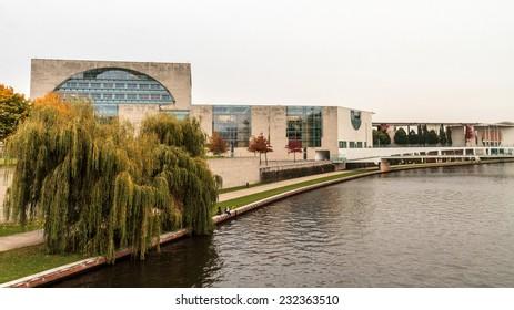 BERLIN, GERMANY - OCTOBER 13 2012: Outdoor picture of the Berlin Bundestag in Germany