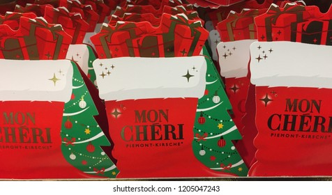 Berlin, Germany - October 13, 2018: Ferrero Mon Chéri Christmas chocolates. Mon Chéri is an internationally known brand name of the Italian Ferrero company for a chocolate confectionery