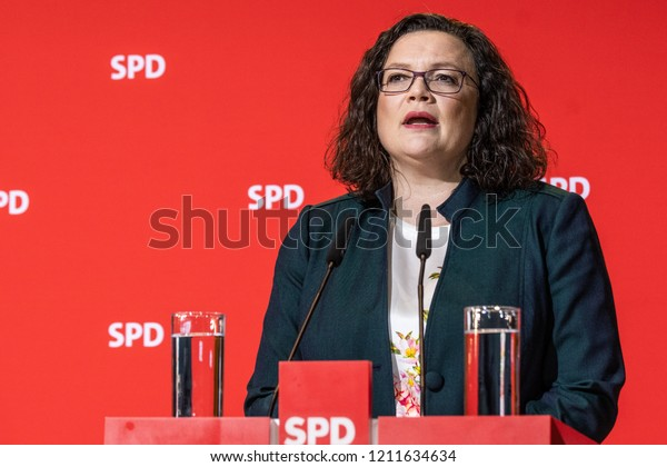 Berlin, Germany / October 14th 2018: Andrea Nahles talking about the election loss during the Bavarian state elections