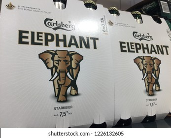 Berlin, Germany - October 18, 2018: Carlsberg Elephant beer bottles for sale.  The Carlsberg Group is a brewing company founded in 1847 headquartered in Copenhagen, Denmark