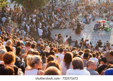 Berlin, GERMANY - October, 2, 2011. People at Mauerpark watching the Sundays free Karaoke public.