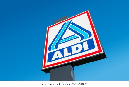 BERLIN, GERMANY OCTOBER, 2017: Aldi sign (north division) against blue sky. Aldi is a leading global discount supermarket chain with almost 10,000 stores in 18 countries.