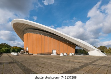 Berlin, Germany - October 2017: The Haus der Kulturen der Welt (House of the World's Cultures) in Berlin, Germany. It is a centre of international contemporary arts.