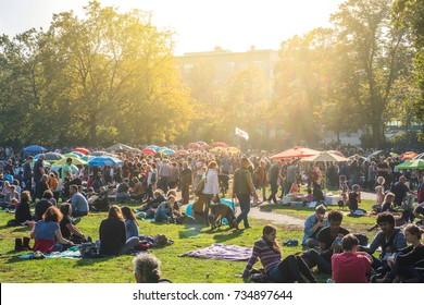 Berlin, Germany - october 2017: Thai food market / street food in public park (Preussenpark)   in Berlin, Germany