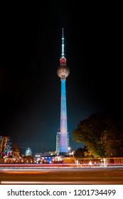 Berlin, Germany - october 2018: Illuminated landmark ( TV Tower / Fernsehturm) at night during Berlin leuchtet a.k.a. Festival of Lights in Berlin, Germany