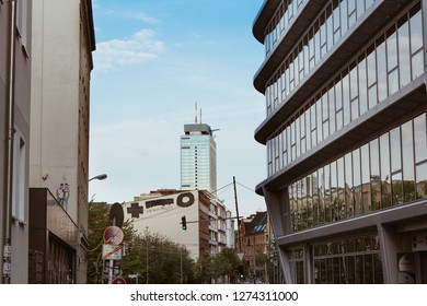 Berlin, Germany - October 2018: View of downtown Berlin on a street with buildings on the left and right side