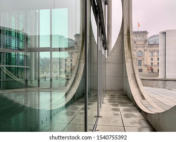 Berlin, Germany - OCTOBER 2019: Government district (german: Regierungsviertel) Marie-Elisabeth-Lüders-Haus, Germany