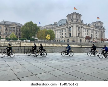 Berlin, Germany - OCTOBER 2019: Government district (german: Regierungsviertel) Marie-Elisabeth-Lüders-Haus, a guided bike tour, Germany