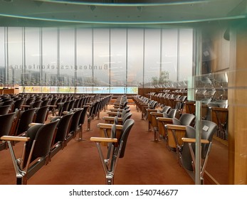 Berlin, Germany - OCTOBER 2019: The House of the Federal Press Conference (german: Bundespressekonferenz) the empty room, Germany