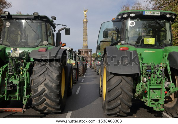 Berlin, Berlin / Germany - October 22 2019: Protest by farmers in Berlin against the current policies by the German government