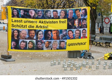 BERLIN, GERMANY - OCTOBER 25, 2013: The protest by Greenpeace activists in front of the Russian Embassy in Berlin in support of arrested Arctic Sea crew.