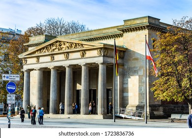 Berlin, Germany - October 27, 2014: people visit the alte Wache (old Guard House) in Berlin, Germany.