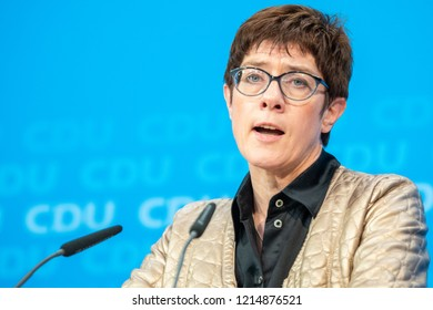 Berlin, Germany - October 28th 2018: Annegret Kramp-Karrenbauer, CDU General Secretary speaking about the Hessen election results.