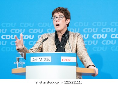 Berlin, Germany - October 28th 2018: Annegret Kramp-Karrenbauer speaking about the elections