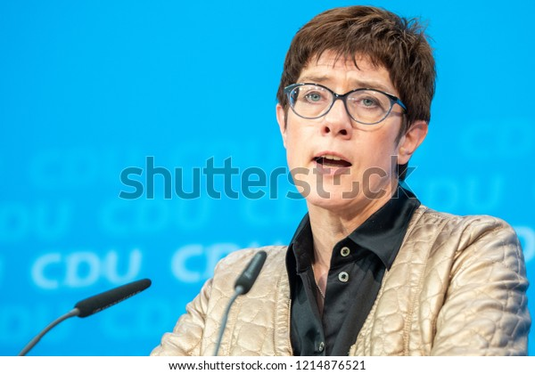Berlin, Germany - October 28th 2018: Annegret Kramp-Karrenbauer, CDU General Secretary speaking about the Hessen election results.