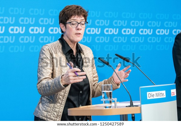 Berlin, Germany - October 28th 2018: Annegret Kramp-Karrenbauer speaking about the election results in the German state of Hesse.
