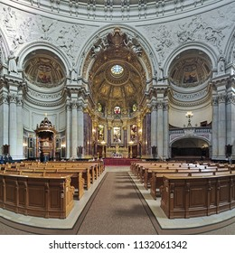 BERLIN, GERMANY - OCTOBER 29, 2016: Interior of Berlin Cathedral (Berliner Dom). The present cathedral was built in 1894-1905 in the Italian High Renaissance style with influence of Baroque.