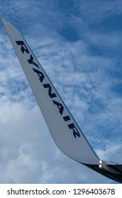 Berlin, Germany - October 30, 2018: logo of Ryanair airplane. Ryanair Ltd. is an Irish low-cost airline with its primary operational bases at Dublin and London Stansted Airports