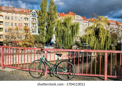 Berlin, Germany - October 30th, 2019 - Bridge with bike on the Maybach bank in Kreuzberg