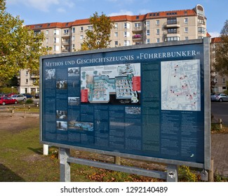 Berlin, Germany - October 31st 2012: Information sign in the German language entitled the Myths and History of the Fuhrerbunker, on the land where the bunker of Adolf Hitler once stood in Berlin.