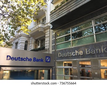 Berlin, Germany - October 8, 2017: Sign outside a branch of the Deutsche Bank. It is a German global banking and financial services company with its headquarters in Frankfurt