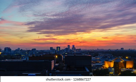 BERLIN, GERMANY - OCTOBER 8, 2018: Spectacular sunset seen from Potsdamer Platz in Berlin, Germany on October 8, 2018.