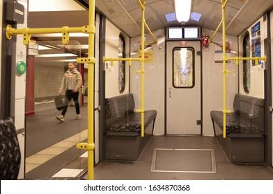 Berlin, Germany on december 31, 2019: Empty BVG subway train U-Bahn / metro train in Berlin, Germany