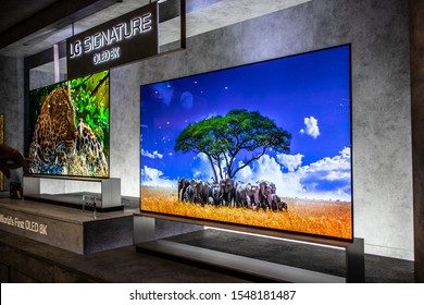 Berlin, Germany, Sep 06, 2019, LG 8k Signature Smart OLED Premium TV on display, at LG exhibition showroom, stand at Global Innovations Show IFA 2019