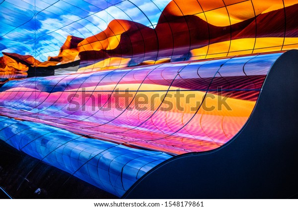 Berlin, Germany, Sep 06, 2019, LG OLED Ultra HD HDR10 Smart Premium TV on display, The Massive Curve of Nature, Global Innovations Show IFA 2019, wall ceiling tv
