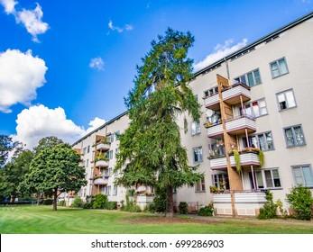 BERLIN, GERMANY - SEP 17: Grosssiedlung Siemensstadt of the Berlin Modernism Housing Estates in Berlin on September 17, 2013. The Berlin Modernism Housing Estates is a UNESCO World Heritage Site.