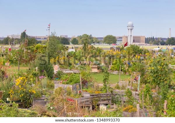 BERLIN, GERMANY- Sep 28, 2016: Urban gardening at Tempelhofer field, once airport, now a public park in Berlin, Germany, on 28th of september, 2016.