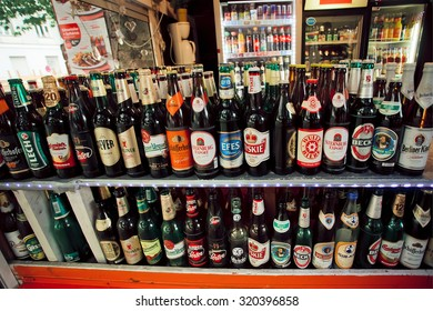 BERLIN, GERMANY - SEP 4: Large selection of beer bottles on counter of street shop on September 4, 2015. Germany ranked third in terms of per-capita beer consumption, behind Czech Republic & Austria