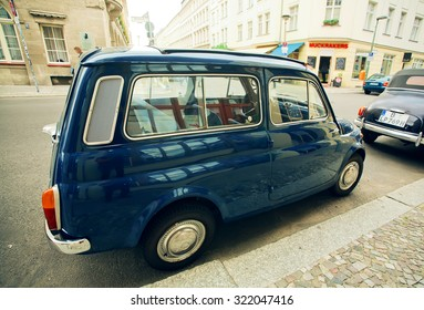 BERLIN, GERMANY - SEP 4: Old rare automobile parking on the street of Berlin on September 4, 2015. Urban area of Berlin comprised about 4 million people making it the 7th most populous in EU