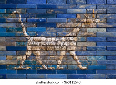 BERLIN, GERMANY - SEPT 2, 2015: Dragon from Ishtar Gate of Babylon, constructed in about 575 BC. on Septemper 2, 2015. Artifact saved by Pergamon Museum in Berlin